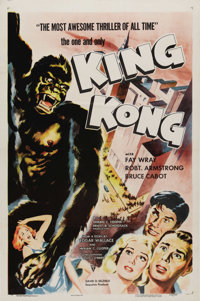 "King Kong (RKO, R-1957). One Sheet (27"" X 41""). ""King Kong"" was so popular RKO re-issued the picture..."
