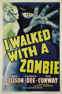 "I Walked With a Zombie (RKO, 1943). One Sheet (27"" X 41""). Striking artwork highlights this rare and amazing R..."