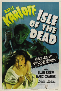 """Isle of the Dead (RKO, 1945). One Sheet (27"""" X 41""""). Producer Val Lewton and director Mark Robson brought thei..."""