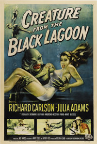 "Creature From the Black Lagoon (Universal International, 1954). One Sheet (27"" X 41""). Shot in 3-D, this film..."