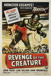 "Revenge Of The Creature (Universal, 1955). One Sheet (27"" X 41""). The Creature from the Black Lagoon is back a..."