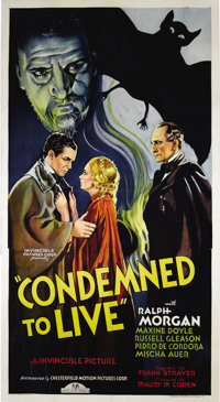 """Condemned To Live (Chesterfield, 1935). Three Sheet (41"""" X 81""""). The residents of a small European village are..."""