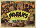 "Movie Posters:Horror, Freaks (MGM, R-1949). Title Lobby Card (11"" X 14""). This 1932 film,directed by Tod Browning of ""Dracula"" fame, examines the..."