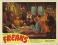 "Movie Posters:Horror, Freaks (MGM, R-1949). Lobby Card (11"" X 14""). This 1949 re-releaselobby card has a great shot of a number of the freaks gat..."