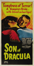 "Movie Posters:Horror, Son of Dracula (Realart, R-1949). Three Sheet (41"" X 81""). LonChaney, Jr. made his only screen appearance as Count Dracula ..."
