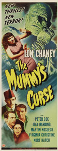 "Movie Posters:Horror, The Mummy's Curse (Universal, 1944). Insert (14"" X 36""). LonChaney, Jr. stalks again as Kharis, the Mummy in the final inst..."