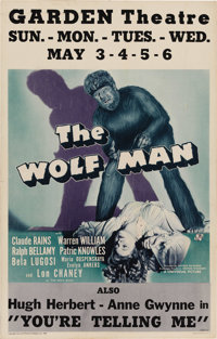 "The Wolf Man (Universal, 1941). Window Card (14"" X 22""). Lon Chaney, Jr. underwent a Jack Pierce ""special..."
