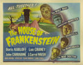 "Movie Posters:Horror, House of Frankenstein (Universal, 1944). Title Lobby Card (11"" X14""). Boris Karloff (as the mad scientist) , Lon Chaney, Jr..."