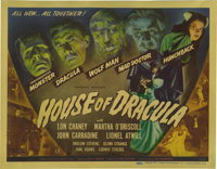 "House of Dracula (Universal, 1945). Title Lobby Card (11"" X 14""). This title card is quite nice in that it fea..."