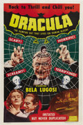 "Movie Posters:Horror, Dracula (Realart, R-1951) One Sheet (27"" X 41""). Impressive 1951re-release Realart poster shows Bela Lugosi in his most fam..."