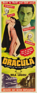 "Movie Posters:Horror, Dracula (Realart, R-1951). Insert (14"" X 36""). The Realart insertsfrom Bela Lugosi's ""Dracula"" rarely surface and when they..."