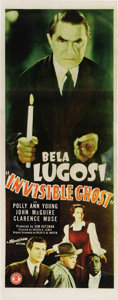"Movie Posters:Horror, Invisible Ghost (Monogram, 1941). Insert (14"" X 36""). By the early1940's, Bela Lugosi had been released by Universal to wor..."