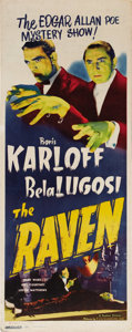 "Movie Posters:Horror, The Raven (Realart, R-1948). Insert (14"" X 36""). Boris Karloff andBela Lugosi combine their talents for the macabre in one ..."