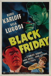 "Black Friday (Universal, 1940). One Sheet (27"" X 41""). In a departure from their typical horror film, the King..."
