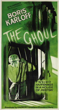 "The Ghoul (Gaumont, R-1938). Three Sheet (41"" X 81""). Boris Karloff, after a successful couple of years portra..."