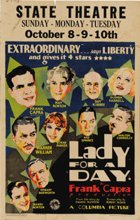 """Lady for a Day (Columbia, 1933). Window Card (14"""" X 22""""). Mary Robson is delightful as Apple Annie, a fruit pe..."""