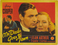 "Movie Posters:Comedy, Mr. Deeds Goes to Town (Columbia, 1936). Lobby Card (11"" X 14"")This gorgeous portrait card of Gary Cooper and Jean Arthur i..."