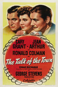"Movie Posters:Romance, The Talk of the Town (Columbia, 1942) One Sheet (27"" X 41"").Classic comedy directed by George Stevens stars Cary Grant, Jea..."