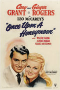 "Movie Posters:Comedy, Once Upon A Honeymoon (RKO, 1942). One Sheet (27"" X 41""). Beautifulartwork of Cary Grant and Ginger Rogers for this World W..."