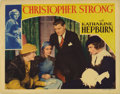 "Movie Posters:Drama, Christopher Strong (RKO, 1933). Lobby Card (11"" X 14""). KatharineHepburn stars as a strong-willed female aviatrix in love w..."