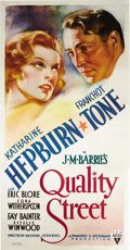 "Movie Posters:Drama, Quality Street (RKO, 1937). Three Sheet (41"" X 81""). KatharineHepburn stars in this romantic comedy as a girl who falls for...(Total: 3 Items)"