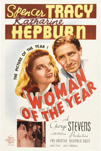 "Woman of the Year (MGM, 1942). One Sheet (27"" X 41""). Spencer Tracy and Katharine Hepburn star for the first t..."