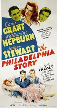 "The Philadelphia Story (MGM, 1940). Three Sheet (41"" X 81""). Katharine Hepburn, Cary Grant and James Stewart s..."