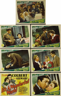 """It's a Wonderful World. (MGM, 1939). Title Lobby Card and Lobby Cards (6) (11"""" X 14""""). James Stewart and Claud..."""
