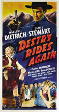 "Movie Posters:Western, Destry Rides Again (Universal, 1939) Three Sheet (41"" X 81""). Wonderful artwork of James Stewart highlights this great poste..."