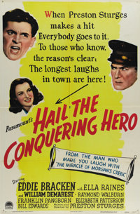 """Hail the Conquering Hero (Paramount, 1944). One Sheet (27"""" X 41""""). In this farce directed by Preston Sturges..."""