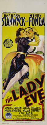 """The Lady Eve (Paramount, 1941). Australian Daybill (15"""" X 40""""). Preston Sturges wrote and directed this romant..."""