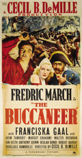 "Movie Posters:Adventure, The Buccaneer (Paramount, 1938). Three Sheet (41"" X 81""). Cecil B.DeMille directs this semi-fictional account of pirate Jea..."