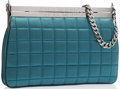 "Luxury Accessories:Accessories, Chanel Blue Quilted Satin Shoulder Bag with Gunmetal Hardware.Excellent Condition. 9.5"" Width x 6.5"" Height x 1"" Depth..."