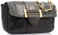 "Luxury Accessories:Bags, Chloe Black Python & Leather Evening Bag. Good Condition. 10.5"" Width x 7"" Height x 4"" Depth. ..."