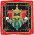 "Luxury Accessories:Accessories, Hermes 90cm Black & Red ""La Reale,"" by Hugo Grygkar Silk Scarf.Excellent Condition. 36"" Width x 36"" Length. ..."