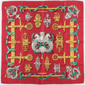 "Luxury Accessories:Accessories, Hermes 90cm Red & Gold ""Ferronnerie,"" by Caty Latham SilkScarf. Excellent Condition. 36"" Width x 36"" Length. ..."