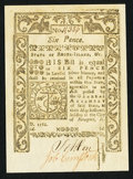 Colonial Notes:Rhode Island, Rhode Island May 1786 6d Choice New.. ...