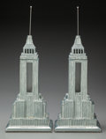 Decorative Arts, American:Lamps & Lighting, A Pair of Aluminum Empire State Building-Form Lamps, late 20thcentury. Marks: Sarsaparilla Deco Designs. 19 inches high...(Total: 2 Items)
