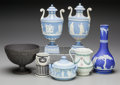 Ceramics & Porcelain, A Group of Seven Wedgwood Jasperware and Basalt Table Articles, Staffordshire, England, 19th century. Each incised: WEDGWO... (Total: 7 Items)