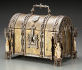 Decorative Arts, Continental:Other , A Continental Gothic-Style Bone, Brass and Iron Table Casket, late19th century. 7 inches high x 9-1/4 inches wide x 6-1/4 i...