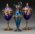 Silver Holloware, Continental:Holloware, An Austrian Silver and Enameled Ewer with Two Brass and EnameledCovered Chalices, 19th & 20th centuries. Marks to ewer: (Di...(Total: 5 Items)