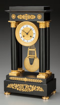 Timepieces:Clocks, A French Empire-Style Ebonized Wood and Gilt Bronze Temple-Form Portico Clock, late 19th century. 18-1/2 inches high x 9-3/4...