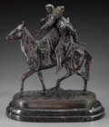 Sculpture, After Evengy Aleksandrovich Lansere (Russian, 1848-1886). Couple on Horseback. Bronze with brown patina. 14-1/2 inches (...