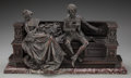 Sculpture, Continental School (19th Century). Courting Couple. Bronze with brown patina. 10-1/2 inches (26.7 cm) high on a 1 inch (...