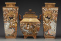 Asian:Japanese, A Pair of Japanese Satsuma Enameled Porcelain Vases and Censer.Marks: (gilt multi-character mark). 16-1/4 inches high (41.3...(Total: 3 Items)