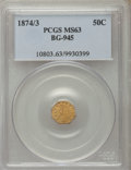 California Fractional Gold , 1874/3 50C Indian Octagonal 50 Cents, BG-945, High R.4, MS63 PCGS.PCGS Population (14/13). NGC Census: (1/0). ...