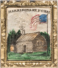 Political:Ferrotypes / Photo Badges (pre-1896), William Henry Harrison: Colorful Log Cabin Brooch....