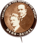 Political:Pinback Buttons (1896-present), Debs & Seidel: Terrific Real Photo Jugate....