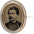 Political:Ferrotypes / Photo Badges (pre-1896), George McClellan: Oval Ferrotype Brooch....