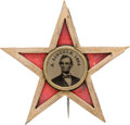 Political:Ferrotypes / Photo Badges (pre-1896), Abraham Lincoln: Star Ferrotype Badge....